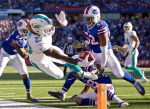 Miami Dolphins running back Jay Ajayi (23) stretches for the goal line but comes up short at Ralph Wilson Stadium in Orchard Park, New York on November 8, 2015. The Dolphins later scored on a run by Miami Dolphins running back Lamar Miller (26). (Allen Eyestone / The Palm Beach Post)