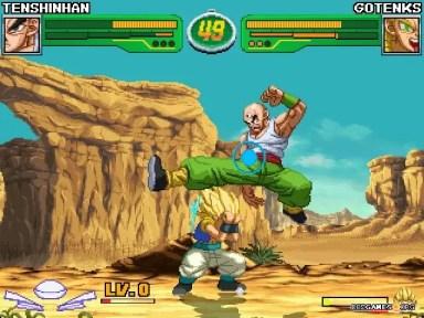 Screenshot of Tien vs Gotenks in version 4.2b of Hyper Dragon Ball Z