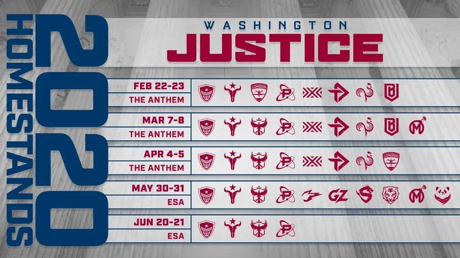 Washington Justice schedule