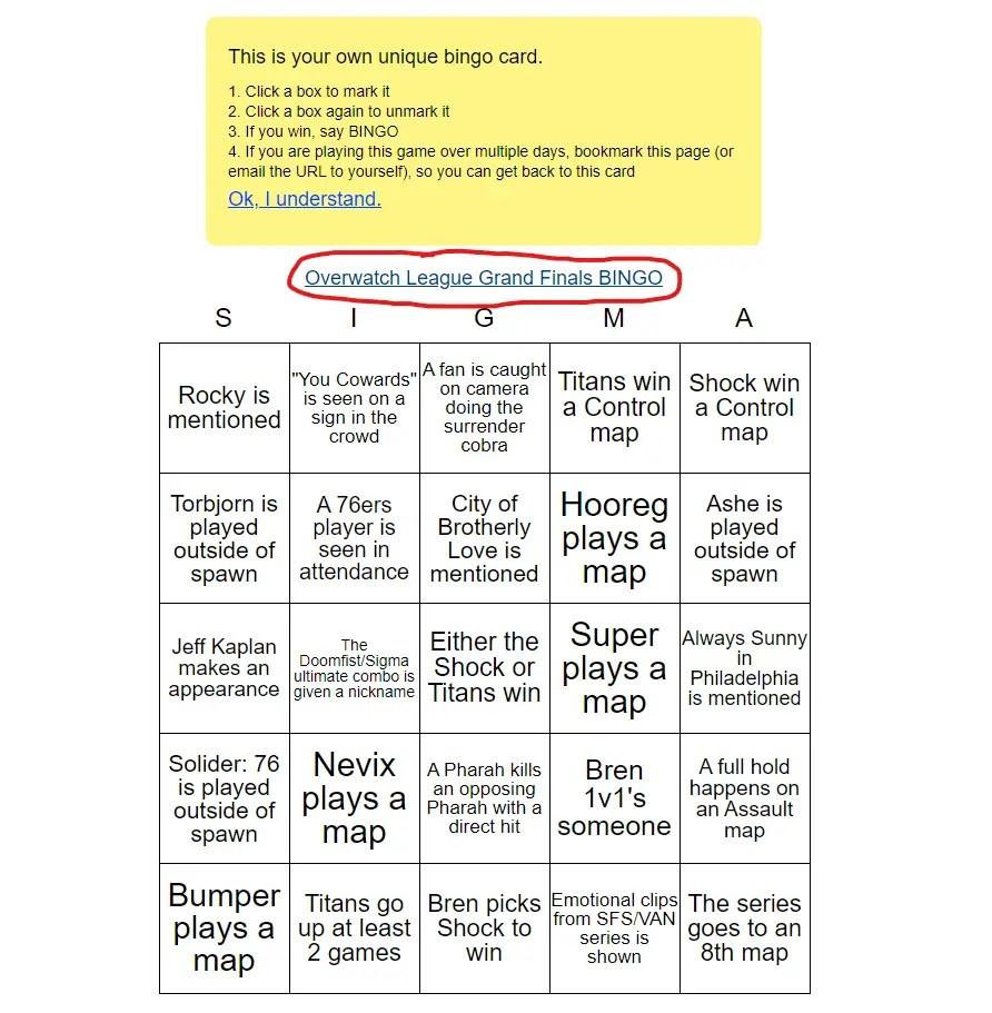 grand finals bingo