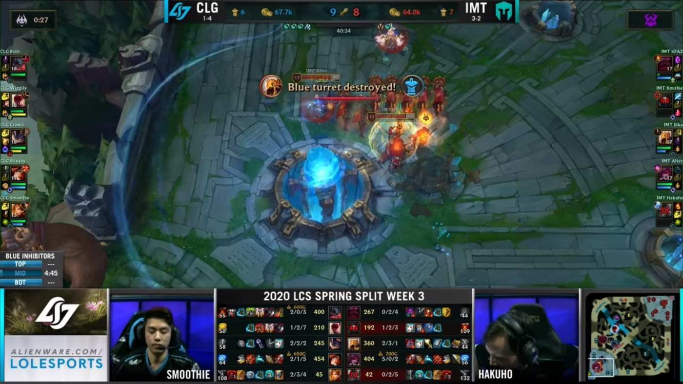 Altec and Eika destroyed the turrets and the Nexus, winning the match for IMT.