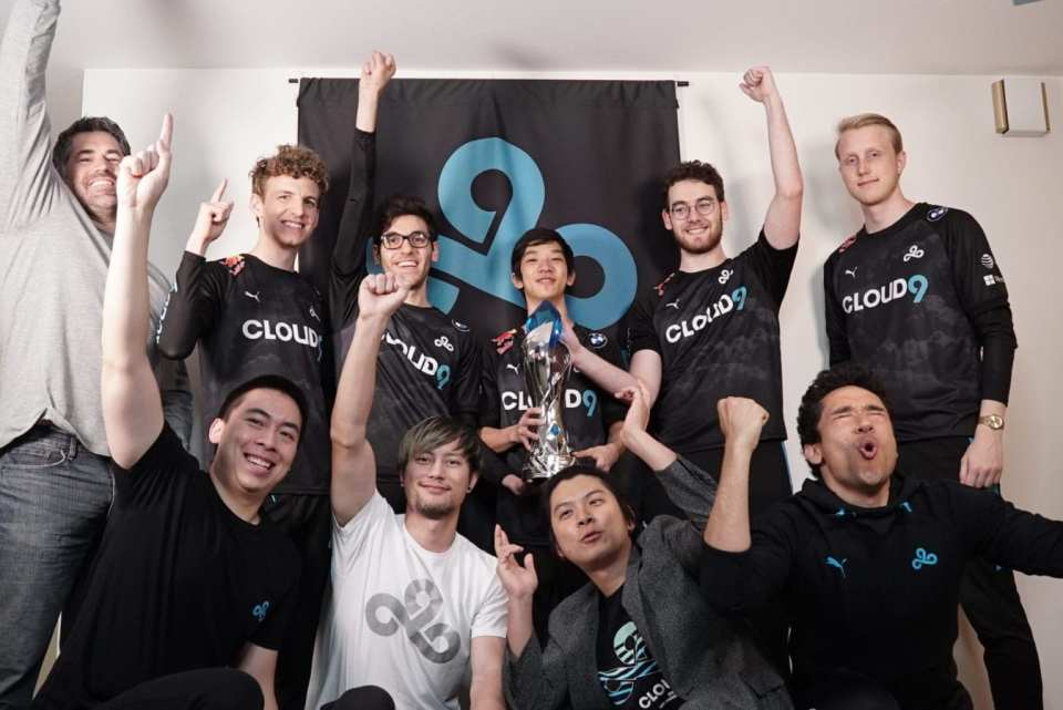 Cloud9 celebrates their Spring Championship
