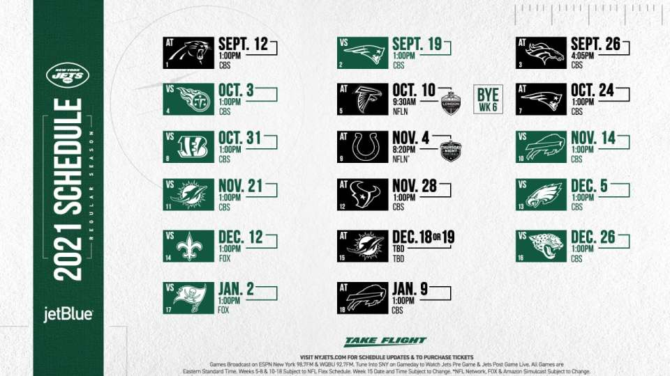 New York Jets 2021 Schedule Preview