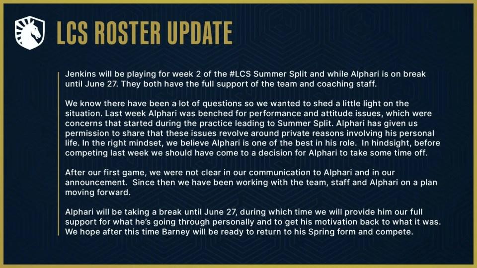 Team Liquid bench Alphari until June 27 due to attitude and performance issues.