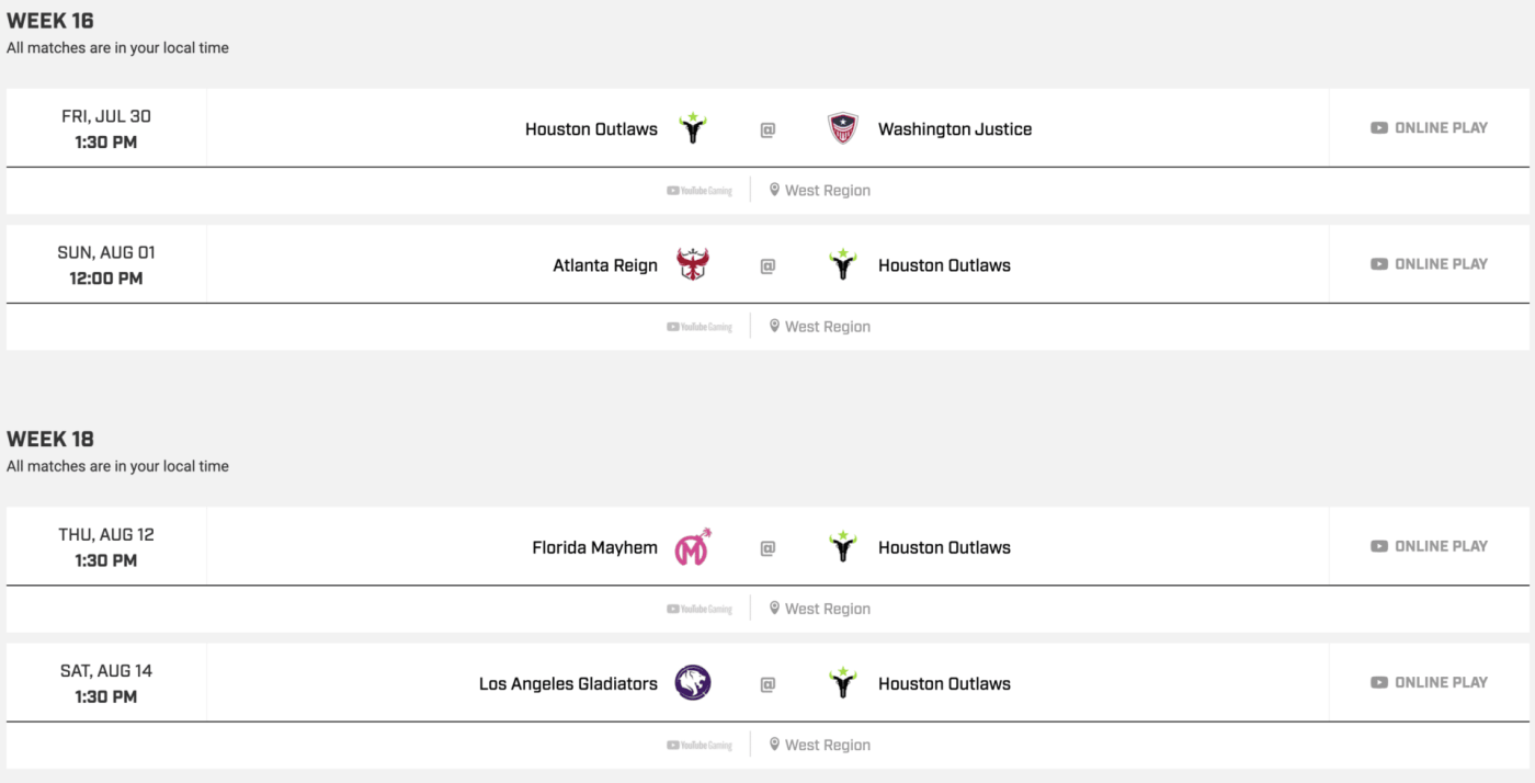 Countdown Cup Schedule Houston Outlaws