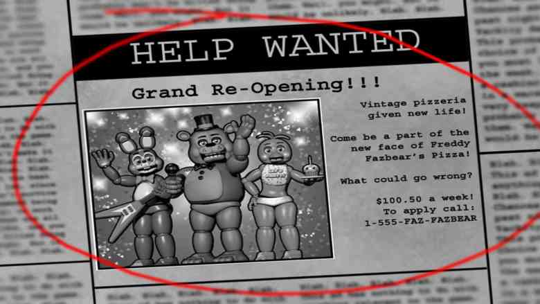 Five Nights at Freddy's 2 - Help Wanted Newspaper Ad