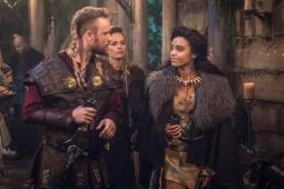 PIctured (L-R): Thor Knai as Leif Eriksson, Katia Winter as Freydis Eriksdottir and Maisie Richardson-Sellers as Amaya Jiwe/Vixen. Photo courtesy of DC Legends TV.