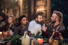 Pictured (L-R): Maisie Richardson-Sellers as Amaya Jiwe/Vixen, Nick Zano as Nate Heywood/Steel and Thor Knai as Leif Eriksson. Photo courtesy of DC Legends TV.