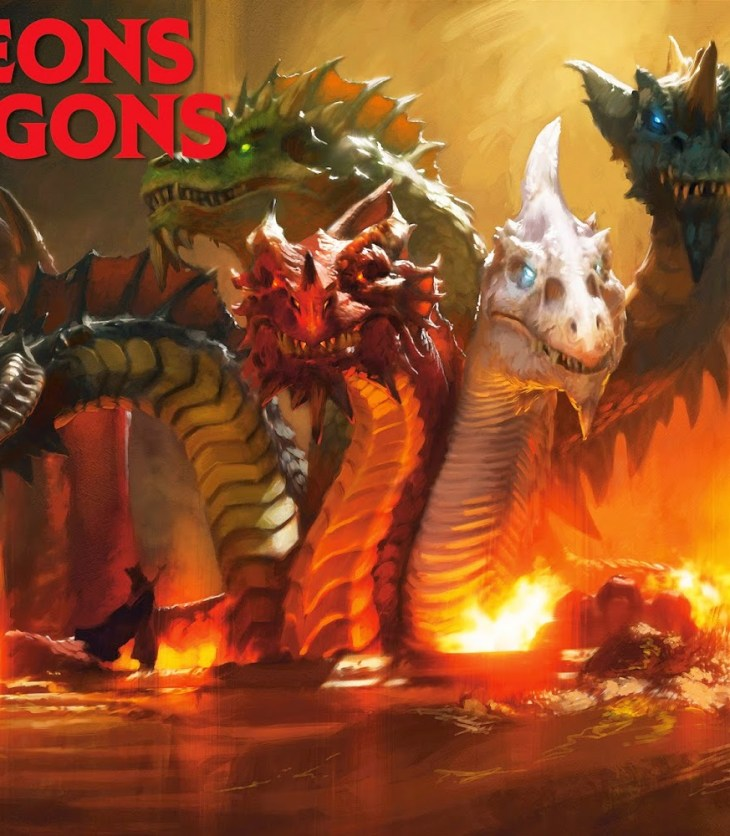 Five dragons rising out of lava to shame mankind