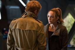 Matt Ryan as Constantine (left) and Caity Lotz as Sara Lance (right). Photo courtesy of DC Legends TV.