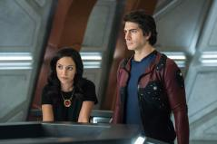 Tala Ashe as Zari (left) and Brandon Routh as Ray Palmer/Atom (right). Photo courtesy of DC Legends TV.