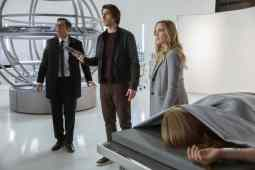 Pictured (L-R): Adam Tsekhman as Agent Gary Green, Brandon Routh as Ray Palmer/Atom and Caity Lotz as Sara Lance/White Canary. Photo courtesy of DC Legends TV.