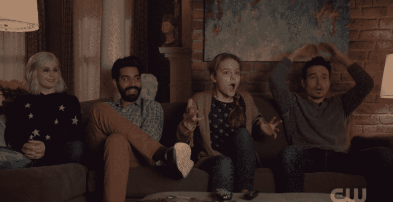 The gang watching Zombie High on iZombie