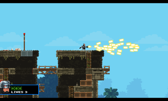 Brobocop's charged spread gun attack - Screenshot of Broforce by Free Lives