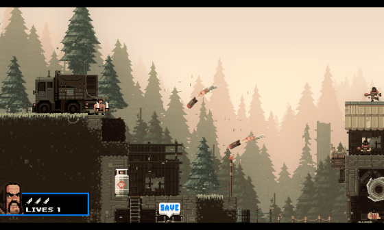 Brochete staring down incoming missiles - Screenshot of Broforce by Free Lives
