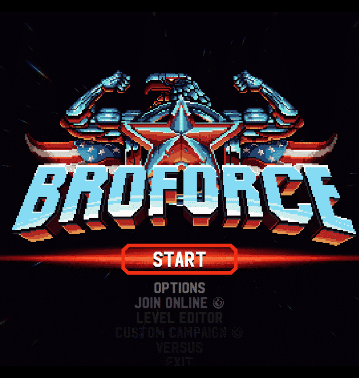 Broforce Title Screen - Screenshot from Broforce by Free Lives