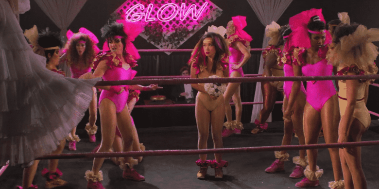 The cast of GLOW performing their ring-wedding.