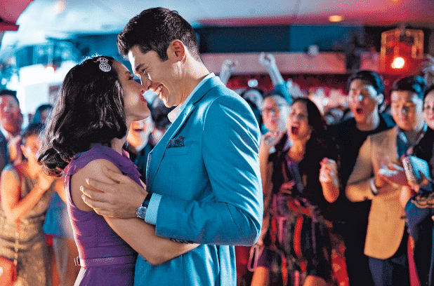 Constance Wu as Rachel Chu and Henry Golding as Nick Young in Crazy Rich Asians