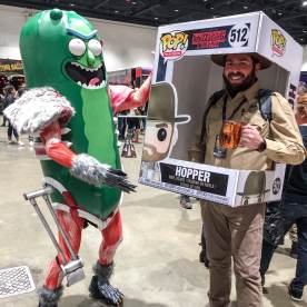 Life Size Hopper Pop Box (@TheVIParolaz on Instagram) and Pickle Rick Cosplay Source: Shannon for The Game of Nerds
