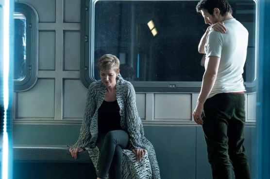"NIGHTFLYERS -- ""White Rabbit"" Episode 104 -- Pictured: (l-r) Gretchen Mol as Agatha, Eoin Macken as Karl D'Branin -- (Photo by: Jonathan Hession/Syfy)"