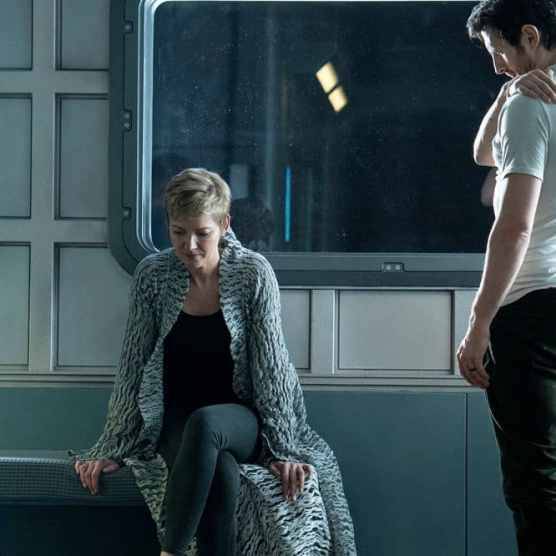 "NIGHTFLYERS -- ""White Rabbit"" Episode 104 -- Pictured: (l-r) Gretchen Mol as Agatha, Eoin Macken as Karl D'Branin -- (Photo by: Jonathan Hession/Syfy)"