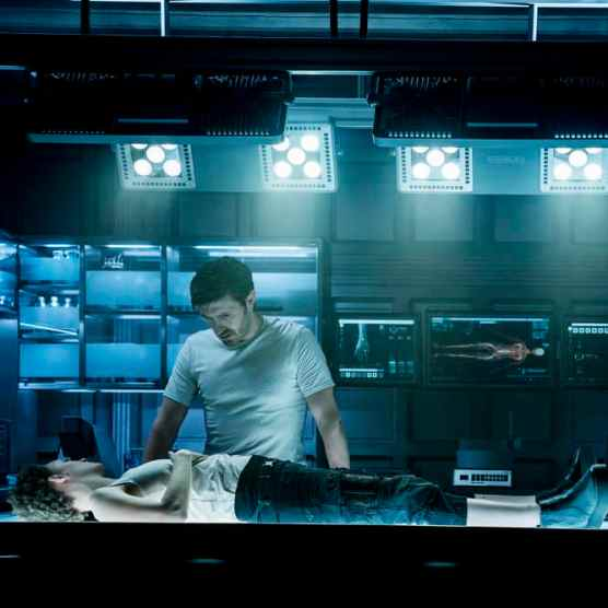 "NIGHTFLYERS -- ""White Rabbit"" Episode 104 -- Pictured: (l-r) Maya Eshet as Lommie, Eoin Macken as Karl D'Branin -- (Photo by: Jonathan Hession/Syfy)"