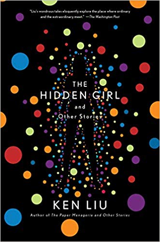 Cover art for The Hidden Girl and Other Stories shows a sihouette of a woman against a black background with multicolored orbs.