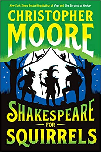 Cover for Shakespeare for Squirrels features sihouettes of a jester, a donkey-headed man, and a fairy against a full moon