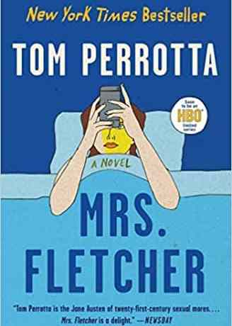 Cover art for Mrs. Fletcher, which features a caucasian woman in a blue bed, looking at a smartphone