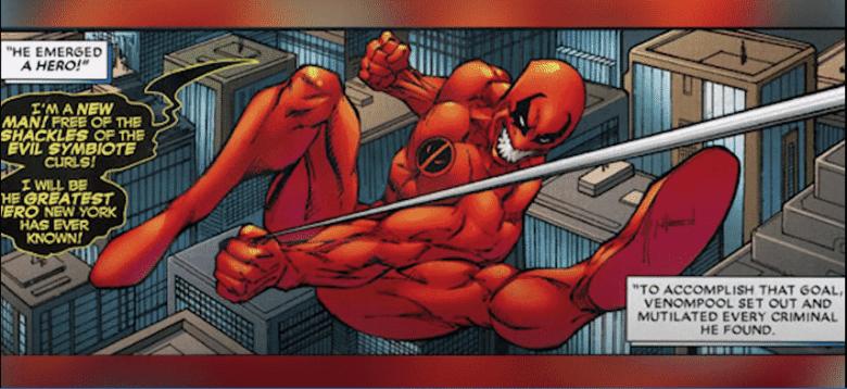 "Venompool: screenshot taken from Top 10 Nerd YouTube channel, video titled ""top 10 strongest alternate versions of Deadpool"""