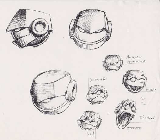 """Vectorman Turns 25: Heads by Rick Schmitz. Paraphrasing Lorenzen, """"I had to object, since the hero hardly had a face at all."""
