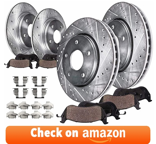 Detroit Axle - Front & Rear Drilled Slotted Rotors + Brake Pads - 8pc Set Brake Kit review