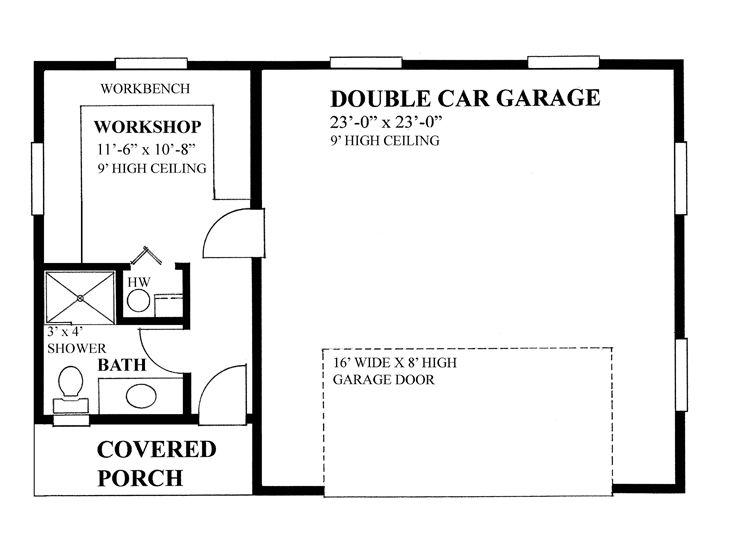 Two-Car Garage Plan With Workshop