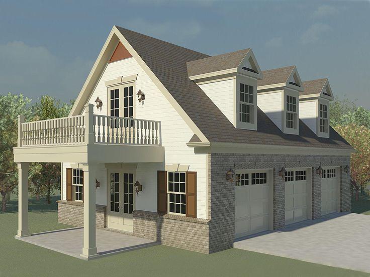 Three-Car Garage Loft Plan With Future