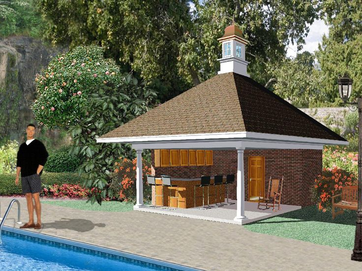 Pool House With Outdoor Kitchen # 006P
