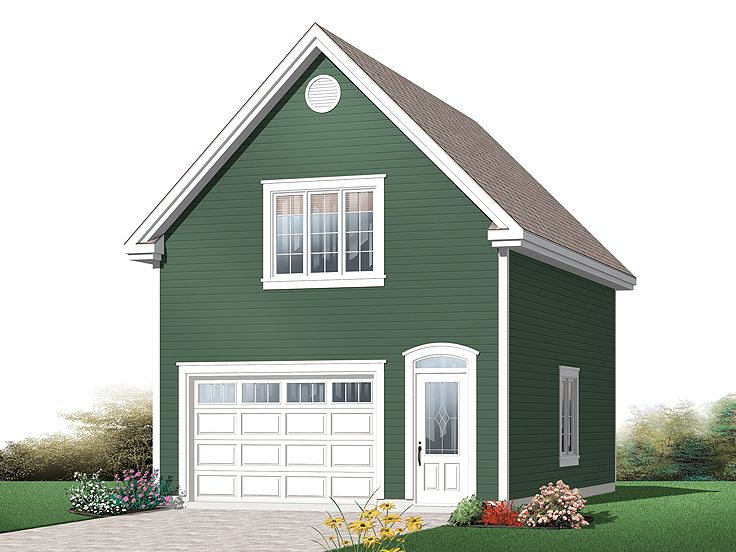 Traditional 1-Car Garage Plan With