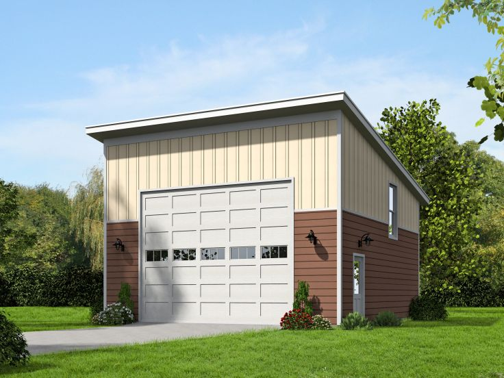 Modern Two-Car Garage Plan With Loft