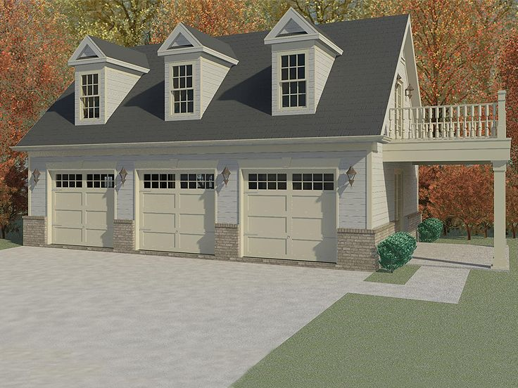 3-Car Garage Apartment Plan With