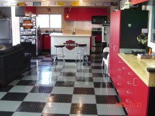 Custom Garage Cabinets and Floor Tiles