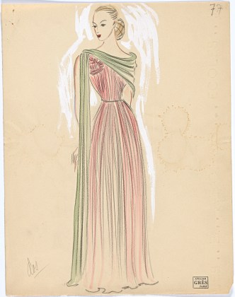 Grès, Paris Fashion design (c.1940s) Campbell-Pretty Fashion Research Collection National Gallery of Victoria, Melbourne