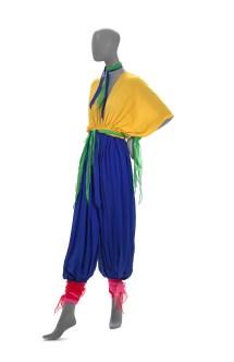 FLAMINGO PARK, Sydney (fashion house); Linda JACKSON (designer) Harem outfit 1975 silk 130.5 cm (centre back) 29.0 cm (waist, flat) 62.0 cm (inner leg) (jumpsuit) 3.0 x 98.0 cm (neckties) 5.0 x 104.0 cm (ties) National Gallery of Victoria, Melbourne Purchased NGV Foundation, 2014 2014.679 © Linda Jackson/Licensed by VISCOPY, Sydney