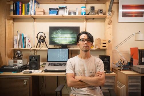 Miyanaga Akira at his studio 'ViDeOM', located in Kyoto, Japan Photo: Miyanaga Akira