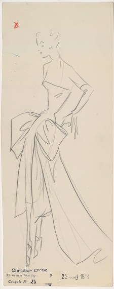 Drawing primarily on material from the House of Dior archive in Paris and the NGV Collection, the exhibition will also feature accessories, sketches, photographs, haute couturetoiles, multimedia and archival material. Sketch by Christian Dior for the autumn−winter 1949 haute couture collection © Christian Dior