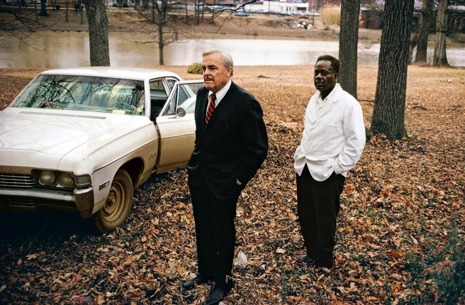 William Eggleston Untitled, 1969–70 (the artist's uncle, Adyn Schuyler Senior, with assistant and driver, Jasper Staples, in Cassidy Bayou, Sumner, Mississippi) Pigment print, printed 2016, 1118 x 1524mm Courtesy the Eggleston Artistic Trust and David Zwirner, New York/London © Eggleston Artistic Trust