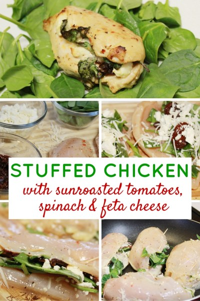 Stuffed Chickenwith sunroasted tomatoes, spinach & feta cheese
