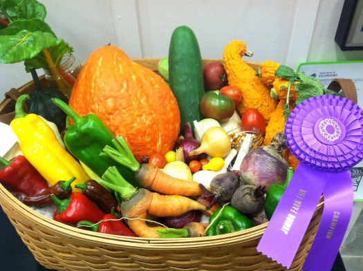 A basket of veggies that won first prize at the Hereford Farm Fair