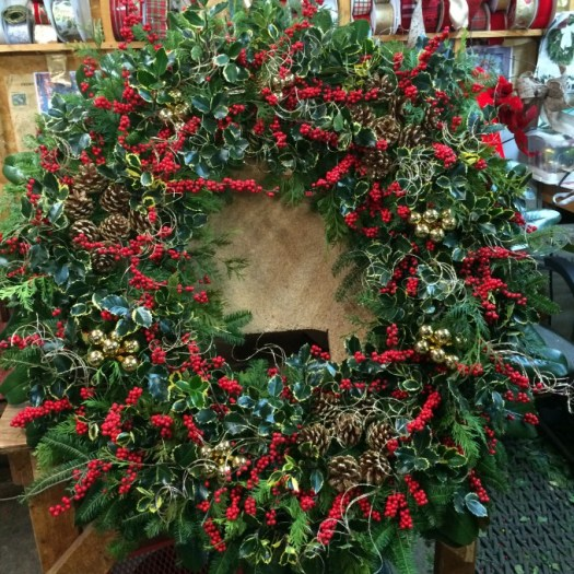 Large 42 inch wreath made at McLean nurseries in Maryland