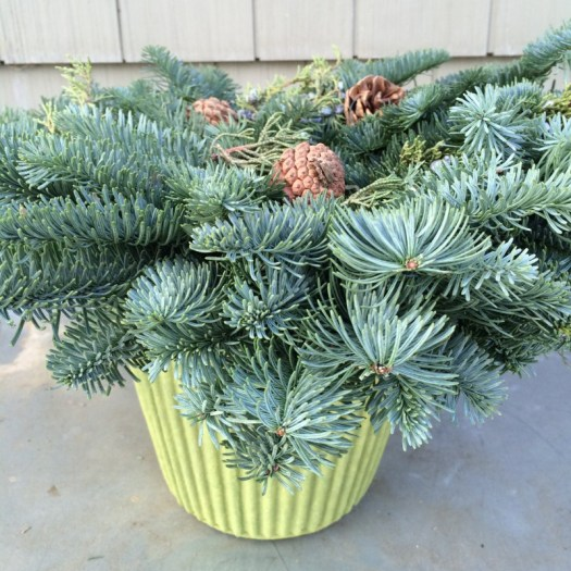 Place your wreath on top of a container-here I used a waterproof fiber pot