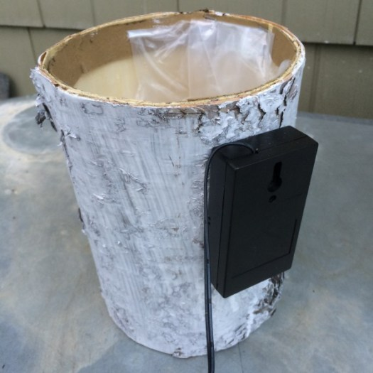 Birch bark container with controller glued to the back