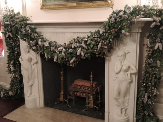The China Room's dramatic mantel trimmed in silver